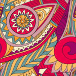 Hand-drawn vector doodles, seamless pattern. Tribal ethnic background. All elements are not cropped and hidden under mask, place the pattern on canvas and repeat